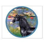 Lilies/Arabian horse (blk) Small Poster