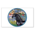 Lilies/Arabian horse (blk) Rectangle Sticker 10 p