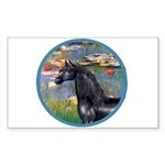 Lilies/Arabian horse (blk) Rectangle Sticker