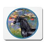Lilies/Arabian horse (blk) Mousepad