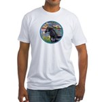 Lilies/Arabian horse (blk) Fitted T-Shirt