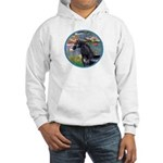 Lilies/Arabian horse (blk) Hooded Sweatshirt