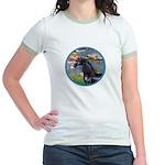 Lilies/Arabian horse (blk) Jr. Ringer T-Shirt