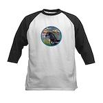 Lilies/Arabian horse (blk) Kids Baseball Jersey