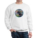 Lilies/Arabian horse (blk) Sweatshirt