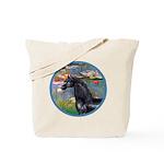 Lilies/Arabian horse (blk) Tote Bag