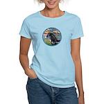 Lilies/Arabian horse (blk) Women's Light T-Shirt