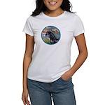 Lilies/Arabian horse (blk) Women's T-Shirt