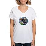 Lilies/Arabian horse (blk) Women's V-Neck T-Shirt
