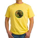 Lilies/Arabian horse (blk) Yellow T-Shirt