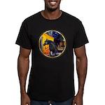 Cafe/Arabian horse (blk) Men's Fitted T-Shirt (dar
