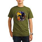Cafe/Arabian horse (blk) Organic Men's T-Shirt (da