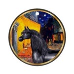 Cafe/Arabian horse (blk) Ornament (Round)