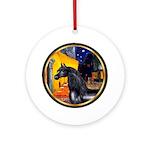 Cafe/Arabian horse (blk) Ornament (Round)