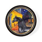 Cafe/Arabian horse (blk) Wall Clock