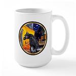 Cafe/Arabian horse (blk) Large Mug