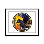 Cafe/Arabian horse (blk) Framed Panel Print