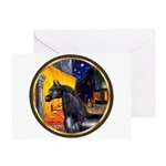 Cafe/Arabian horse (blk) Greeting Card