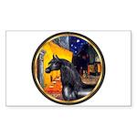 Cafe/Arabian horse (blk) Rectangle Sticker