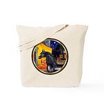 Cafe/Arabian horse (blk) Tote Bag