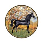 Spring/Arabian horse (blk) Ornament (Round)