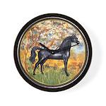 Spring/Arabian horse (blk) Wall Clock