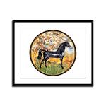 Spring/Arabian horse (blk) Framed Panel Print