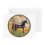Spring/Arabian horse (blk) Greeting Cards (Pk of 1