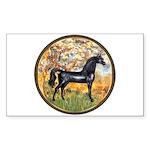 Spring/Arabian horse (blk) Rectangle Sticker 10 p