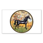 Spring/Arabian horse (blk) Rectangle Sticker