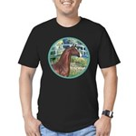 Bridge/Arabian horse (brn) Men's Fitted T-Shirt (d