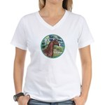 Bridge/Arabian horse (brn) Women's V-Neck T-Shirt