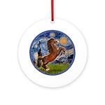 Starry/Arabian horse (brn) Ornament (Round)