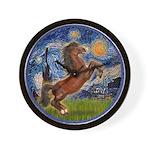 Starry/Arabian horse (brn) Wall Clock