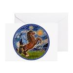 Starry/Arabian horse (brn) Greeting Cards (Pk of 2