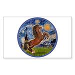 Starry/Arabian horse (brn) Rectangle Sticker 10 p