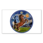 Starry/Arabian horse (brn) Rectangle Sticker