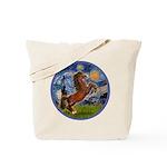 Starry/Arabian horse (brn) Tote Bag