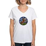 Starry/Arabian horse (brn) Women's V-Neck T-Shirt