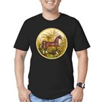 Palms/Arabian horse (w) Men's Fitted T-Shirt (dark