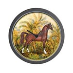 Palms/Arabian horse (w) Wall Clock