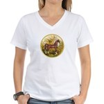 Palms/Arabian horse (w) Women's V-Neck T-Shirt