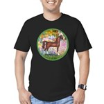 Garden/Arabian horse (brn) Men's Fitted T-Shirt (d