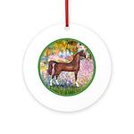 Garden/Arabian horse (brn) Ornament (Round)