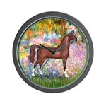 Garden/Arabian horse (brn) Wall Clock