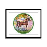 Garden/Arabian horse (brn) Framed Panel Print