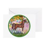 Garden/Arabian horse (brn) Greeting Cards (Pk of 1