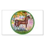 Garden/Arabian horse (brn) Rectangle Sticker