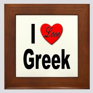 I Love Greek Framed Tile
