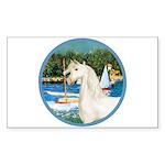 Sailboats/Arabian Horse (w) Rectangle Sticker
